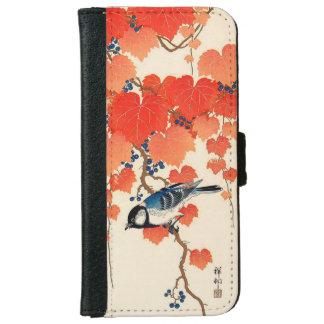 Capa Carteira Para iPhone 6/6s Pássaro de Jay do japonês do vintage e vinha do