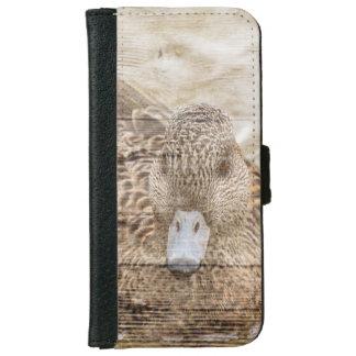 Capa Carteira Para iPhone 6/6s Pato selvagem da lagoa do woodgrain da casa do