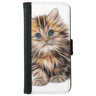 Capa Carteira Para iPhone 6/6s Pintura adorável do gatinho