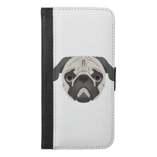 Capa Carteira Para iPhone 6/6s Plus A ilustração persegue o Pug da cara
