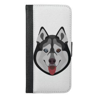 Capa Carteira Para iPhone 6/6s Plus A ilustração persegue o rouco Siberian da cara