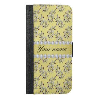 Capa Carteira Para iPhone 6/6s Plus A prata sae bagas do diamante de Bling da folha de