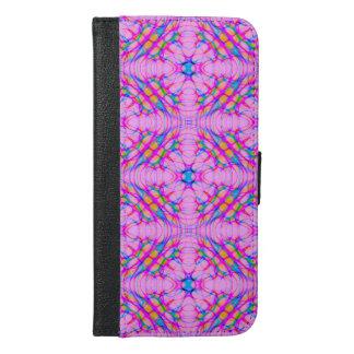 Capa Carteira Para iPhone 6/6s Plus Abstrato do teste padrão do caleidoscópio do rosa