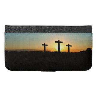 Capa Carteira Para iPhone 6/6s Plus As cruzes da crucificação no por do sol