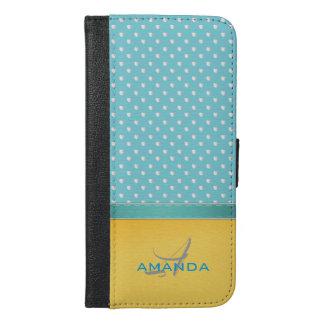 Capa Carteira Para iPhone 6/6s Plus Azul de oceano, praia ensolarada, monograma de