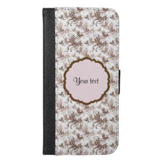 Capa Carteira Para iPhone 6/6s Plus Borboletas bonitas de Brown Swirly