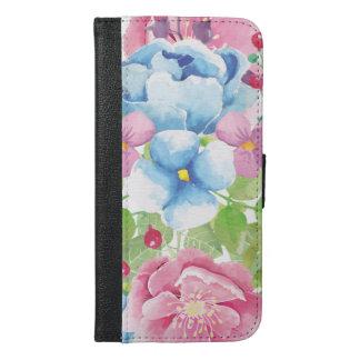 Capa Carteira Para iPhone 6/6s Plus Buquê floral da aguarela bonito