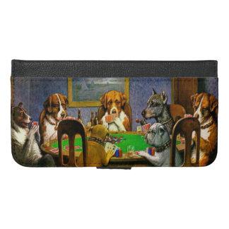 Capa Carteira Para iPhone 6/6s Plus Cães que jogam o póquer