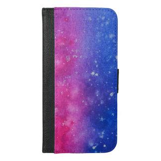 Capa Carteira Para iPhone 6/6s Plus Caixa da carteira do Splatter da galáxia