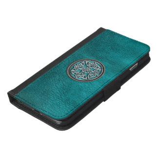 Capa Carteira Para iPhone 6/6s Plus Caixa do couro da cerceta e da carteira do nó do