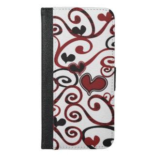 Capa Carteira Para iPhone 6/6s Plus Caso positivo do iPhone 6 femininos dos corações