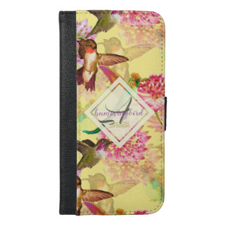 Capa Carteira Para iPhone 6/6s Plus Colibris e aguarela do monograma do Astrantia