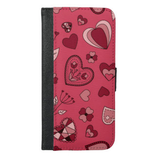 Capa Carteira Para iPhone 6/6s Plus Corações e caixa cor-de-rosa da carteira do