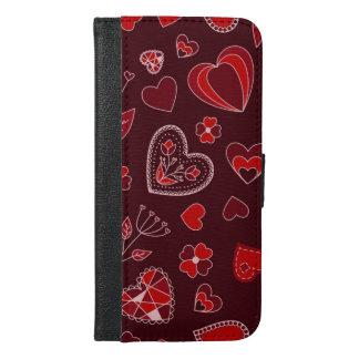 Capa Carteira Para iPhone 6/6s Plus Corações e caixa vermelhos da carteira do telefone