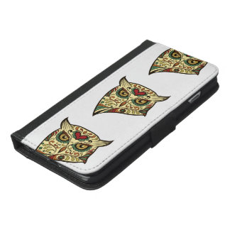 Capa Carteira Para iPhone 6/6s Plus Coruja do crânio do açúcar - design do tatuagem