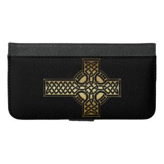 Capa Carteira Para iPhone 6/6s Plus Cruz celta do nó no ouro e no preto
