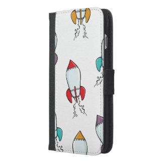 Capa Carteira Para iPhone 6/6s Plus Design do divertimento do navio de Rocket dos