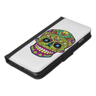 Capa Carteira Para iPhone 6/6s Plus Dia do crânio verde inoperante