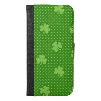 Capa Carteira Para iPhone 6/6s Plus Dia verde de Patricks do santo do teste padrão do