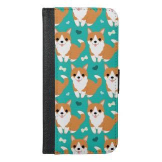 Capa Carteira Para iPhone 6/6s Plus Do cão bonito do Corgi de Kawaii teste padrão