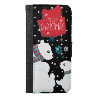 Capa Carteira Para iPhone 6/6s Plus Dois Felizes Natais dos ursos polares
