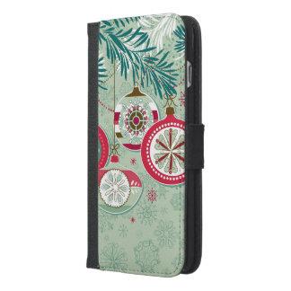 Capa Carteira Para iPhone 6/6s Plus Enfeites de natal retros azuis & vermelhos
