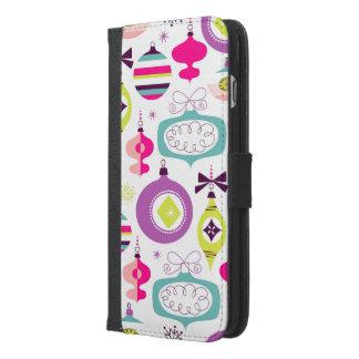 Capa Carteira Para iPhone 6/6s Plus Enfeites de natal retros brilhantes