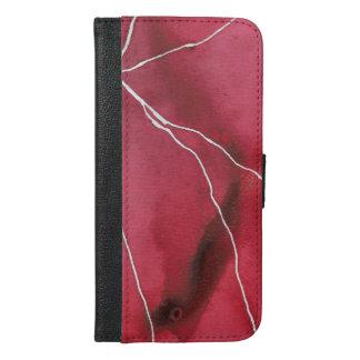 Capa Carteira Para iPhone 6/6s Plus Escuro - ruptura vermelha do mármore do