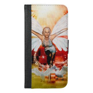 Capa Carteira Para iPhone 6/6s Plus Fada maravilhosa com cisne