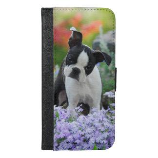 Capa Carteira Para iPhone 6/6s Plus Filhote de cachorro do cão de Boston Terrier -