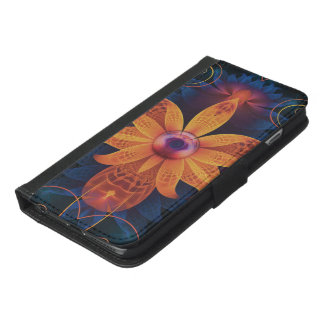 Capa Carteira Para iPhone 6/6s Plus Flor Alaranjado-Azul bonita da orquídea do anjo do