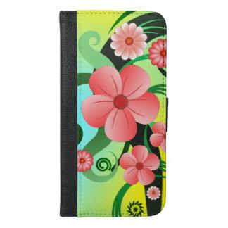 Capa Carteira Para iPhone 6/6s Plus Fólio positivo do iPhone 6 florais tropicais