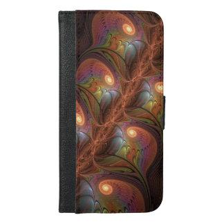 Capa Carteira Para iPhone 6/6s Plus Fractal moderno abstrato fluorescente colorido de