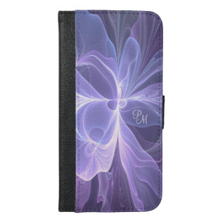 Capa Carteira Para iPhone 6/6s Plus Fractal moderno do abstrato do roxo do monograma