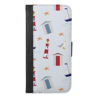 Capa Carteira Para iPhone 6/6s Plus Fundo náutico, faróis - branco do vermelho azul