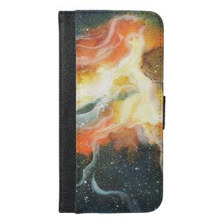 Capa Carteira Para iPhone 6/6s Plus Galáxia da nebulosa do espaço da aguarela