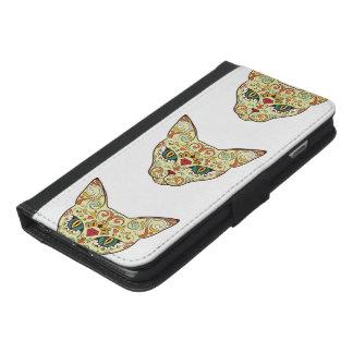 Capa Carteira Para iPhone 6/6s Plus Gato do crânio do açúcar - design do tatuagem