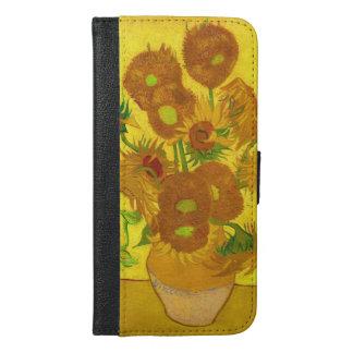 Capa Carteira Para iPhone 6/6s Plus Girassóis de Van Gogh quinze em umas belas artes