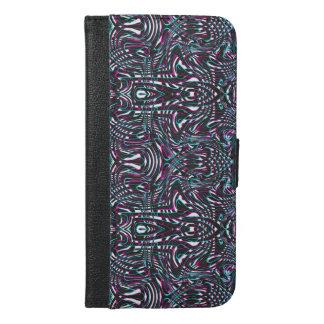 Capa Carteira Para iPhone 6/6s Plus Ilusão óptica das listras onduladas roxas
