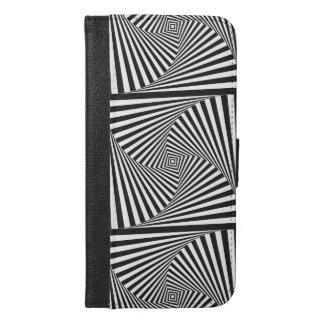 Capa Carteira Para iPhone 6/6s Plus Ilusão óptica espiral branca preta bonita