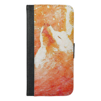 Capa Carteira Para iPhone 6/6s Plus iPhone alaranjado 6/6s do lobo mais a caixa da