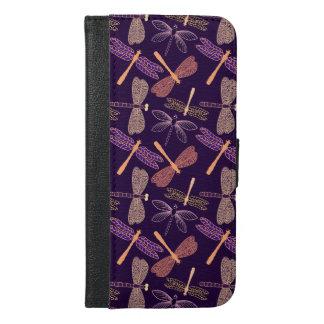 Capa Carteira Para iPhone 6/6s Plus Libélulas de incandescência da noite no fundo