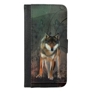 Capa Carteira Para iPhone 6/6s Plus Lobo impressionante no fundo do vintage