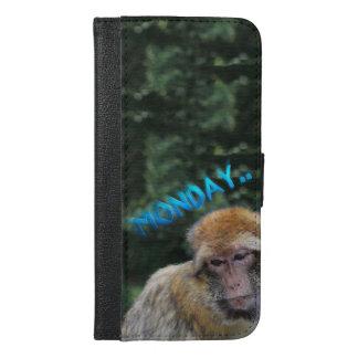 Capa Carteira Para iPhone 6/6s Plus Macaco triste sobre segunda-feira