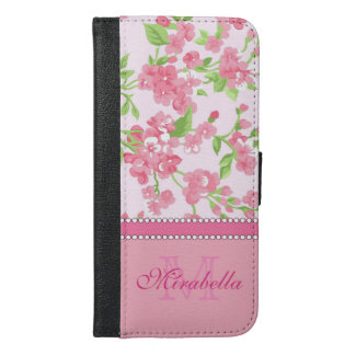 Capa Carteira Para iPhone 6/6s Plus Nome de ramos cor-de-rosa da flor da aguarela do