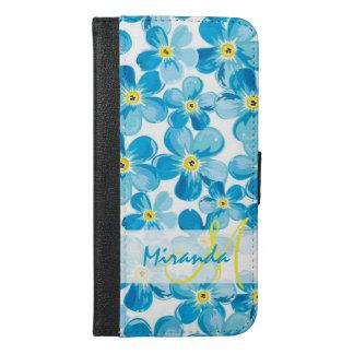 Capa Carteira Para iPhone 6/6s Plus O azul vibrante da aguarela esquece-me não nome