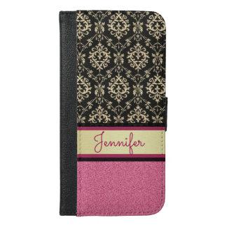 Capa Carteira Para iPhone 6/6s Plus O brilho cor-de-rosa, ouro preto roda nome do