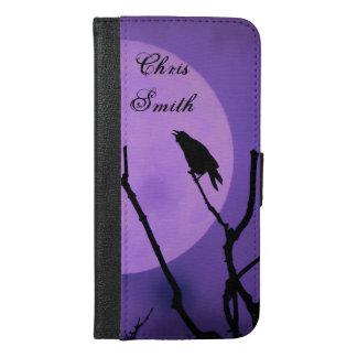 Capa Carteira Para iPhone 6/6s Plus O corvo, a lua, *personalize* do céu da lavanda