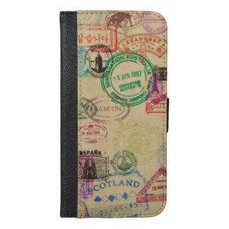 Capa Carteira Para iPhone 6/6s Plus O passaporte do vintage carimba a caixa da