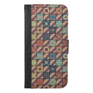 Capa Carteira Para iPhone 6/6s Plus Ornamento de talavera do mosaico do vintage